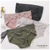 Catworld 文字織帶腰頭透膚橫條中腰內褲 【18804576】‧M/L
