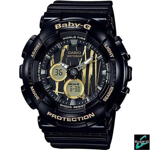 CASIO 卡西歐 BABY-G  隨性塗鴉運動錶 BA-120SP-1A 黑