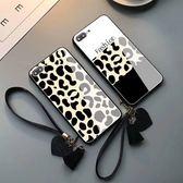 iPhone 8 Plus 手機殼 保護套 豹紋玻璃硬殼 個性創意性感時尚外殼軟邊 全包保護殼 掛繩防摔 iPhone8