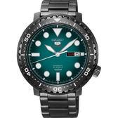 【台南 時代鐘錶 SEIKO】精工 盾牌五號 潛水風格機械錶 SRPC65J1@4R36-06N0SD 綠/黑鋼 45mm