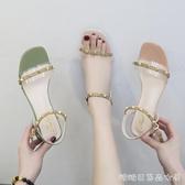透明鞋女夏季配裙子穿的鞋百搭粗高跟鞋糖糖女屋