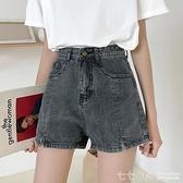 牛仔短褲~ 2021年夏季新款大碼女裝胖mm寬鬆韓版牛仔短褲女學生高腰寬管熱褲