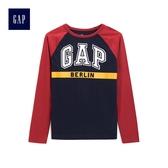 Gap男童 Logo印花旗幟插肩長袖圓領T恤 487769-經典字母印花