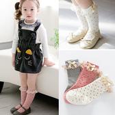 韓國小公主蕾絲花邊止滑中筒襪