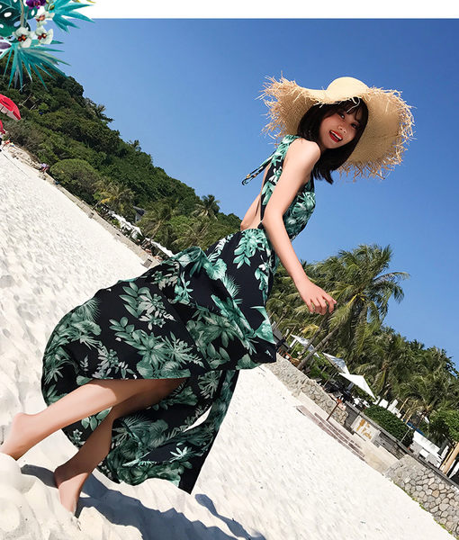 梨卡★現貨 - 性感大露背印花花朵連身裙連身長裙洋裝沙灘裙C6269