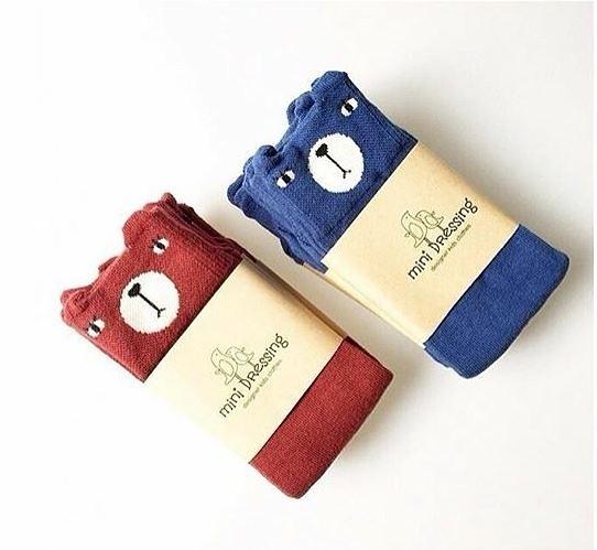 韓國童襪 MINI DRESSING 動物長襪-小熊(紅/藍)