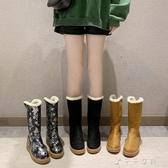 冬季保暖防滑防磨棉靴新款時尚一腳蹬雪地靴女百搭中筒短靴子 千千女鞋