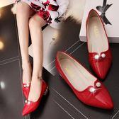 婚鞋夏季結婚大紅色女士低跟新娘孕婦婚禮紅單鞋 XY2150 【KIKIKOKO】