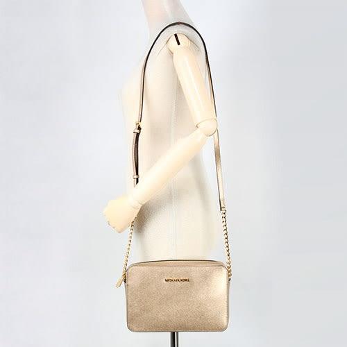 MICHAEL KORS Jet Set 防刮皮革金鏈斜背大方包(金色)611066-19