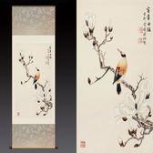 富貴白頭玉蘭花鳥卷軸字畫茶樓包廂古典裝飾畫中式掛畫絲綢畫WY1112【雅居屋】