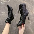 高跟短靴 高跟鞋女2020新款秋冬季尖頭系帶短靴女鞋子細跟瘦瘦靴馬丁靴單靴 漫步雲端