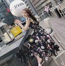 海外直發不退換洋裝沙灘裙流行夏天裙子仙女超仙森系甜美吊帶碎花過膝很仙的小眾連衣裙(NE434)