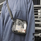 pvc透明包包果凍男包斜背簡約百搭韓版肩背小方包【左岸男裝】