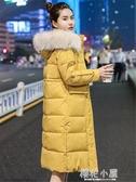 棉衣女中長款新品大碼冬季大毛領羽絨棉服韓版寬鬆棉襖女外套『櫻花小屋』