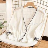 針織外套 夏季冰絲防曬開衫外搭針織衫女超薄度假冰麻披肩七分袖空調衫外套·夏茉生活