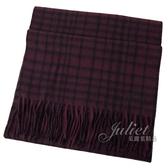 茱麗葉精品【全新現貨】COACH 12167 馬車LOGO喀什米爾羊毛流蘇格紋圍巾.深紅