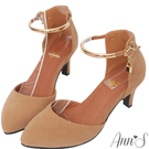 高質感細絨面料打造鞋身 真皮透氣墊腳一整天舒適好走 Line ID請搜尋:@annsshop