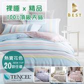 天絲床包涼被四件組 雙人5x6.2尺 100%頂級天絲 萊賽爾 (另有加大/特大) 附正天絲吊牌 BEST寢飾 D1