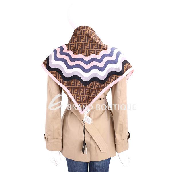 FENDI 經典F LOGO 波浪拼色絲巾(粉色/100%SILK) 1710985-05