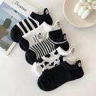 黑白刺繡襪子女ins潮短襪淺口夏季薄款韓國卡通奶牛可愛日系船襪 青木鋪子