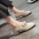 低跟鞋 單鞋女氣質黑色小皮鞋秋季新款時尚英倫風chic百搭粗跟樂福鞋