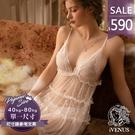 睡衣-純愛邂逅-iVenus-法式細柔蕾絲網紗愛心點點甜美性感透膚誘惑睡裙 玩美維納斯 平價睡衣