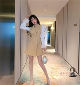泡泡袖洋裝 女神范衣服2020年秋季新款西裝裙子氣質泡泡袖長袖洋裝女裝夏天