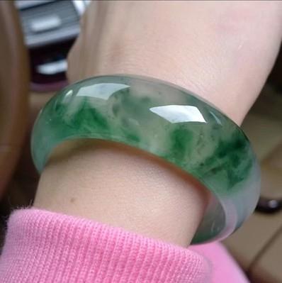 玉鐲 特價天然玉石器翡翠色飄花玉鐲子冰種淺色陽綠手鐲手環少女媽媽款 瑪麗蘇