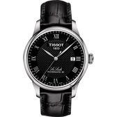 TISSOT 天梭 Le Locle 80小時機械錶-黑/39mm T0064071605300