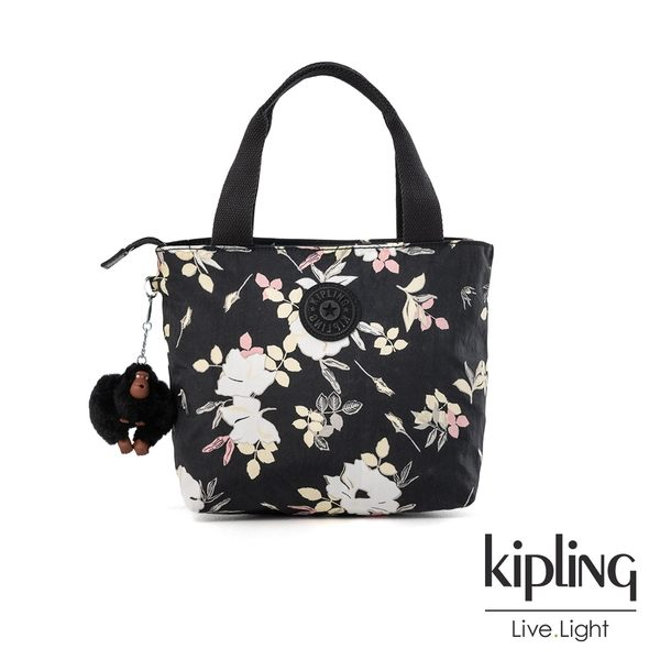 Kipling 沉靜黑浪漫花卉大容量單層手提包-MANA