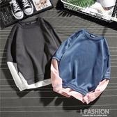 假倆件長袖T恤男士衛衣學生韓版圓領上衣服打底衫休閒運動男裝潮  -Ifashion