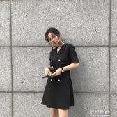 氣質赫本小黑裙女西裝領雙排扣修身收腰短袖洋裝冷淡風裙子 可可鞋櫃