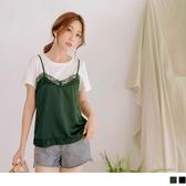 《AB9824-》高含棉緞面光澤蕾絲假兩件上衣 OB嚴選