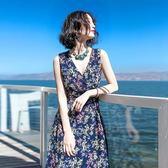 波西米亞長裙波西米亞長裙小碎花修身V領寬肩帶系帶連衣裙海邊旅游度假沙灘裙『櫻花小屋』