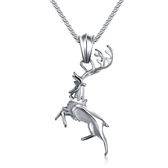 【5折超值價】最新款經典美式風格麋鹿造型男女款鈦鋼項鍊