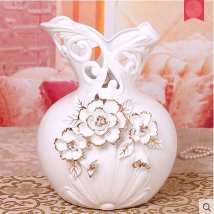 白色歐式陶瓷花瓶客廳擺件家居裝飾品結婚禮物