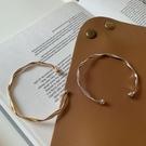 手鐲 ins小眾設計冷淡風簡約百搭手鐲女網紅波浪紋素圈開口手環鐲子潮 晶彩