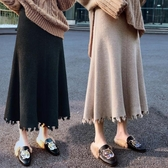 a字裙大碼半身裙女針織裙寬松高腰百褶裙【極簡生活】