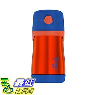 保溫杯 THERMOS FOOGO Vacuum Insulated Stainless Steel 10-Ounce Straw Bottle, Orange/Blue