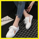 MG 外穿拖鞋-無后跟懶人鞋韓版包頭半拖鞋拖鞋外穿絲帶小白鞋