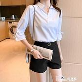 2021年夏季新款白色雪紡襯衫女設計感小眾襯衣薄款中袖上衣七分袖