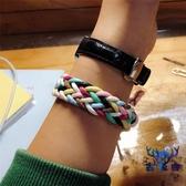 手鏈繩手繩蠟繩彩色手鏈純手工編織潮禮品情侶飾品【古怪舍】