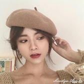 貝雷帽 貝雷帽子女秋季日系百搭羊毛呢帽子秋冬英倫韓版南瓜帽文藝畫家帽 瑪麗蓮安
