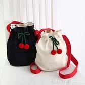 romane韓國創意可愛櫻桃抽繩束口水桶包女休閒棉帆布單肩包斜背包