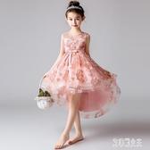 花晚禮服主持人婚紗女童洋裝拖尾女孩模特走秀演出服兒童公主裙夏 LJ4594【艾菲爾女王】