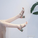 2021年新款夏季中跟粗跟網紅晚晚仙女風配裙子的兩穿涼鞋高跟