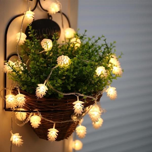 戶外led燈串鬆果裝飾燈院子陽台圣誕燈室外10米彩燈閃燈串燈