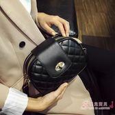 正韓新品迷你小包休閒時尚小香風菱格紋鎖扣肩背斜背女士小包