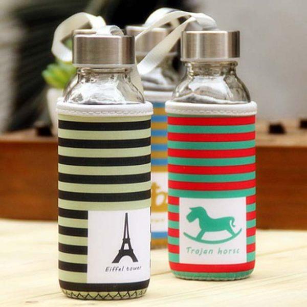 水杯【KCG111】橫條紋歐風圖騰玻璃水杯300ml 水瓶 瓶子 咖啡杯 隨行杯 水壺-123ok
