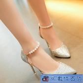高跟涼鞋 女2020新款韓版百搭珍珠一字扣帶尖頭性感細跟高跟鞋單鞋 3C數位百貨